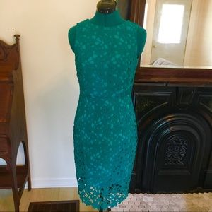 Anthropologie Aqua/Deep Green Lace Dress